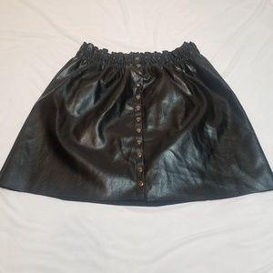 Black faux leather A line skirt size XL